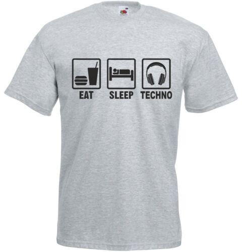 Eat Sleep Techno Mens Printed T-Shirt Soft Slim Fit Crew Neck Tee Short Sleeve