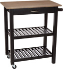Basics Kitchen Island Cart with Storage, Solid Wood Top and Wheels - Gray-Wash /