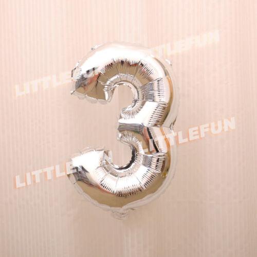 Globo globo folienballon cumpleaños números 0 a 9 número de fiesta 40cm plata