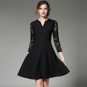 watch 3b373 e8182 Dettagli su Elegante vestito abito lungo donna nero pizzo scampanato slim  morbido 4150