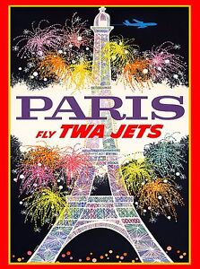 Paris-France-French-Eiffel-Tower-Airplane-Vintage-Travel-Poster-Advertisement