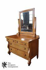 Birdseye Maple Antique Empire Style Bedroom Dresser W/ Mirror Early 20th Century