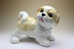 Shih Tzu Puppy Gold And White Parti Colored Dog Porcelain Figurine