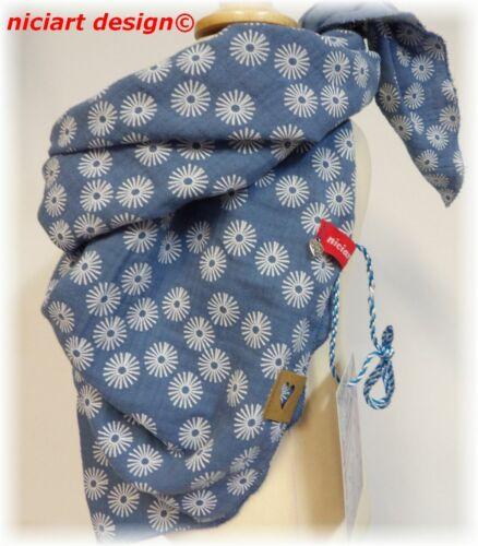 Niciart Design ♥ mousseline Triangle ♥ Enfants Foulard ♥ musselintuch ♥ Jeansblau Blum