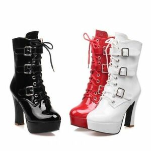 Women-Mid-Calf-Boots-Buckle-High-Heel-Platform-Side-Zip-Patent-Leather-Shoes-SY