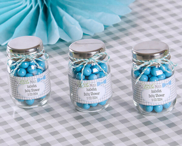 Personalized My Little Man bleu Bow Tie Mason Jar Baby Boy Shower Birthday Favor