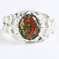 • R168, Created Black Opal, 10k White Gold Men's Ring -handmade
