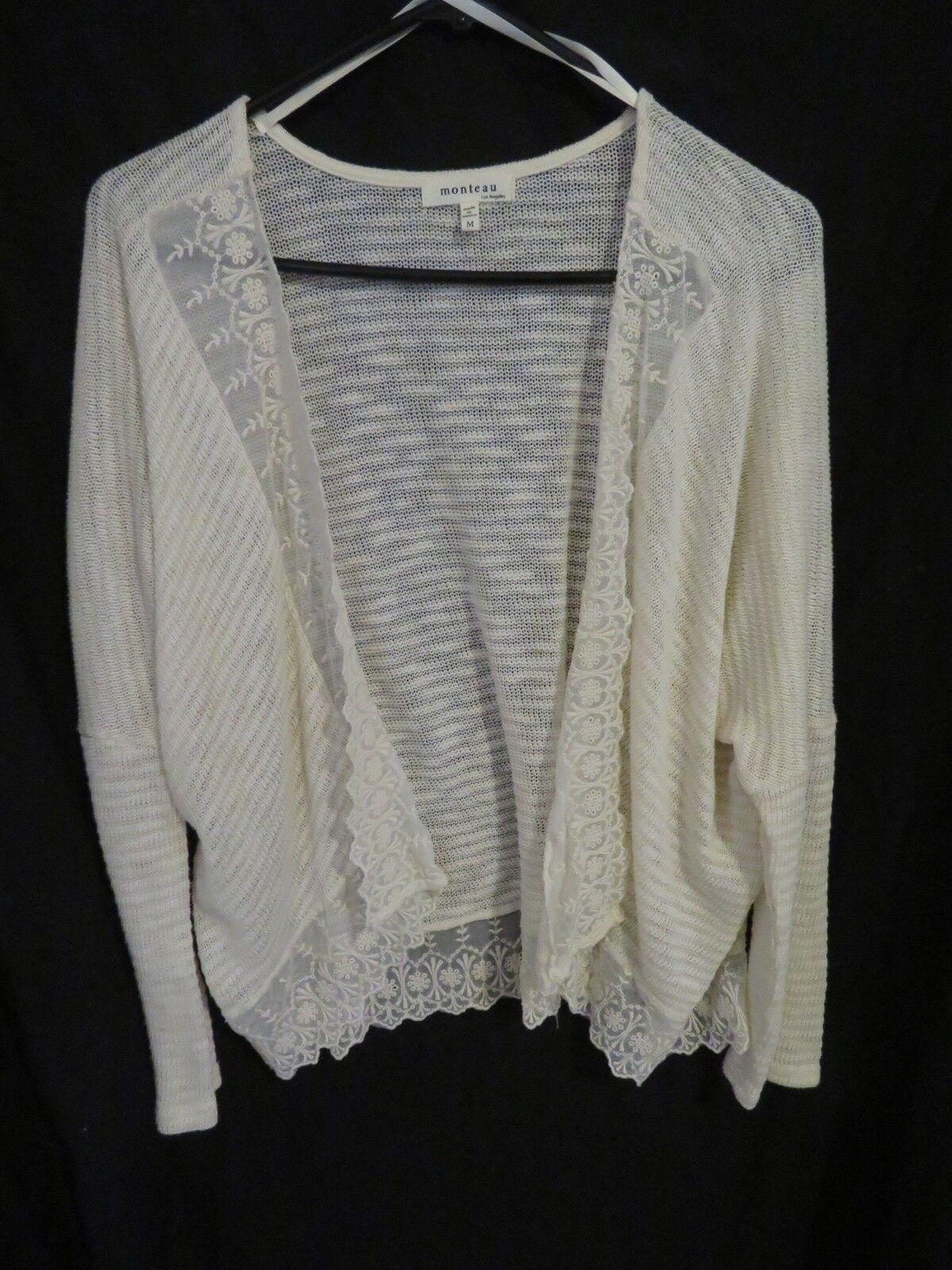 Women's Monteau Open Front Cream Sweater Cover Up Lace Trim Top Size Medium