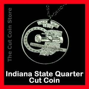 Indy-500-Indiana-Hoosier-State-25-IN-Quarter-Cut-Coin-Necklace-Auto-Racing
