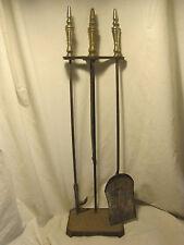 Vintage fire poker & pan w/ stand + fireplace iron metal head log pusher pan