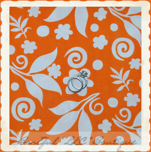 BonEful-Fabric-FQ-Cotton-Quilt-Orange-White-Bright-Flower-Leaf-Dot-Swirl-Scroll