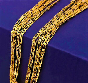 18k-Yellow-Gold-Necklace-Women-039-s-Men-039-s-Figaro-Cuban-Style-Chain-Link-18-034-D400