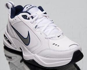 Nike-Air-Monarch-IV-4-Homme-Blanc-Argent-Entrainement-Vie-Epais-Papa-Chaussures