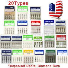 100 New Dental Diamond Burs Tooth Drill Flat Round For High Speed Handpiece Xl