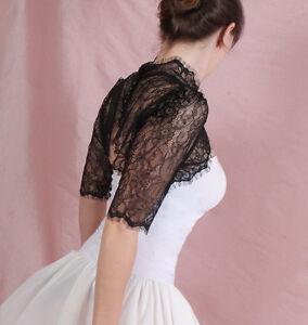 Bridal-lace-black-ivory-white-bolero-jacket-shrug-3-4-sleeve-wedding-shrug