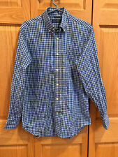 Nautica Men's Small L/S Shirt Blue Checkered Cotton