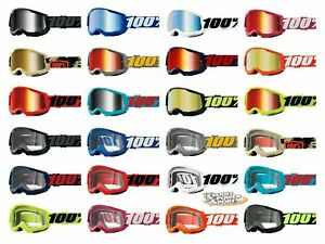 100% STRATA 2 Goggles -ALL COLORS- Offroad MX MTB Moto - CLEAR OR MIRROR LENS
