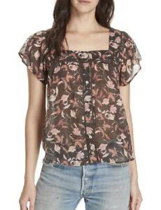 Anthropologie-Dolan-Top-Womens-Size-Large-Cotton-Tali-Print-Button-Front-Blouse