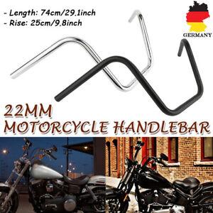 Motorrad-Apehanger-10-039-039-Hoch-7-8-039-039-22mm-Z-Lenker-Handlebar-Stahl-Fuer-Honda-Harley