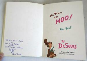1970-Mr-Brown-Can-Moo-Can-You-Hardcover-Book-Signed-Dr-Seuss-1st-1st-w-DJ
