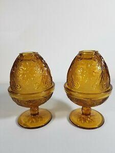 2-Indiana-Glass-Sandwich-Daisy-Pattern-Amber-Candle-Fairy-Lamp-Light-Tealight