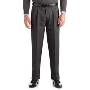 George Para Hombre Talla 32 32 Negro Solido Vestido Plisado Pantalones Rendimiento Classic Fit Ebay