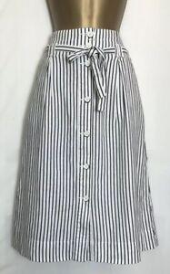 Next-Ivory-Striped-Linen-Blend-Pocket-Skirt-Size-8-22-n-57h