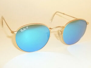 2028c7373a New RAY BAN ROUND METAL Matte Gold RB 3447 112 4L Polarized Blue ...