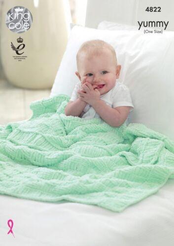 King Cole Knitting Pattern Baby Blanket Chunky Yummy Yarn 4822