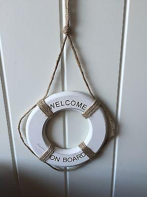 NEW NAUTICAL WOOD LIFE BUOY ROPE WHITE 'WELCOME ON BOARD' BATHROOM  DECOR