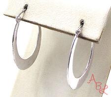 Sterling Silver Vintage 925 Oval Flat Hoop Latch Earrings (4.7g) - 551231