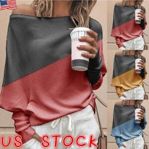 Women-One-Off-Shoulder-Long-Sleeve-Baggy-Tops-Blouse-Jumper-Sweatshirt-Pullover