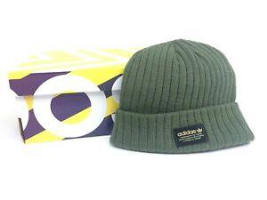 a4b7b614b6875 Image is loading Adidas-Originals-Trefoil-Knit-Puff-Beanie-Hat-Army-