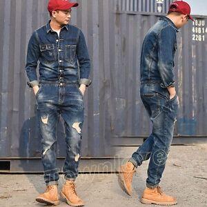 05d60984530d Retro Men Denim Casual Slim Fit Overall Ripped Jumpsuit Jeans Romper ...