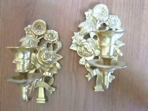 Details About Vintage Pair Of Heavy Cast Br Wall Candle Holders Sconces Fl Flowers
