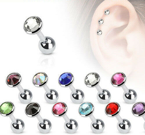 11pcs Gem Stud Tragus Rings 16g Wholesale Body Jewelry Cartilage Barbells