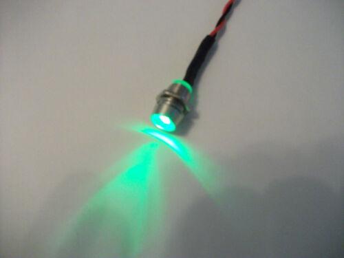 5mm BRIGHT GREEN 12V LED WITH CHROME BEZEL