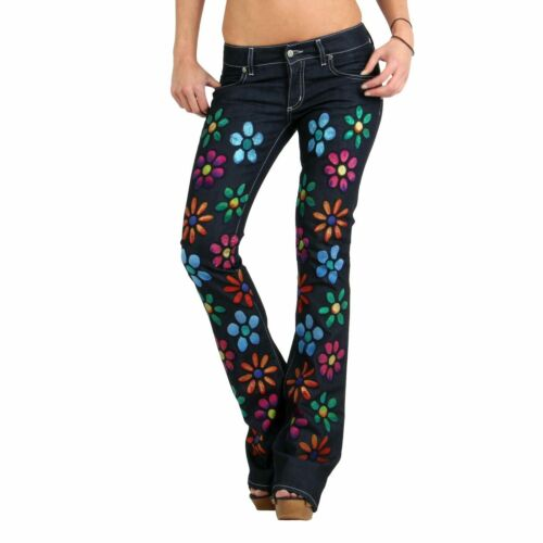 MET donna Jeans Bootcut Denim Funky FLOWERS SPECIAL EDITION BLUE