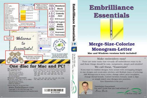 Embrilliance Essentials Machine Embroidery Software Win/&Mac Lettering Editing+++