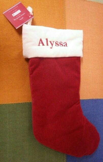 Pottery Barn Velvet Christmas Stocking Red with Ivory Cuff Small 9.25x14.75 Velv