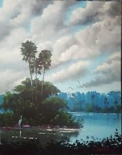 Original Landscape acrylic painting florida art cloudy evening by whirls