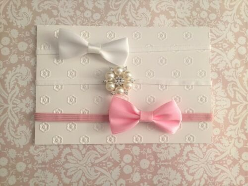 Set of 3 Baby Girls Newborn Bow /& Rhinestone Headband 0-12 mos  white pink