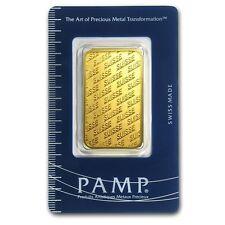 1 oz Pamp Suisse Gold Bar .9999 Fine Gold With Assay Cert