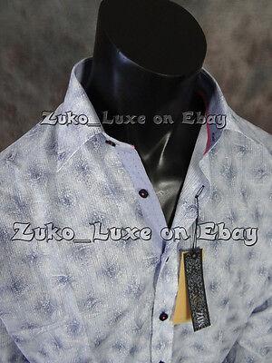 "Mens Button Down MIZUMI Sport Shirt Blue Cloud Paisley's in ""Classic Fit"""