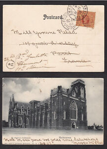 Australia-Victoria-1903-Three-Half-Pence-Postcard-Card-to-France-Redirected