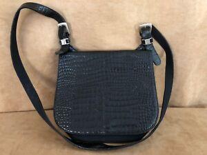 Kenneth-Cole-bag-shoulder-purse-black-embossed-leather-envelope-flap-tote