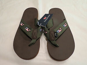7acf091a6cb4c4 Vineyard Vines Flag Whale Leather Flip Flop Spanish Moss 8 or 9  68 ...