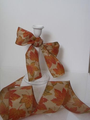 Hoja de otoño Otoño Hojas Beige Oro Y Calabaza Naranja-Lujo alambre filo Cinta