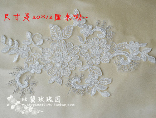 Pair of tulle embroidery flower rosette patche lace applique wedding dress 12A95