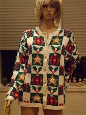 Northern Isles Hand Knit Ugly Christmas White Sweater Large